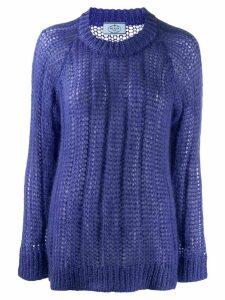 Prada crew neck knitted sweater - PURPLE