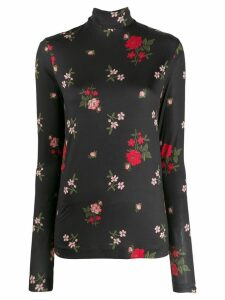 Simone Rocha floral embroidered top - Black