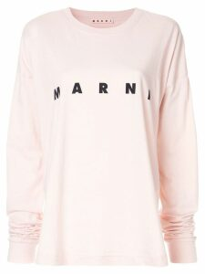 Marni logo print long-sleeved T-shirt - Pink