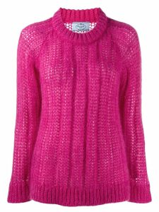 Prada crew neck knitted sweater - PINK