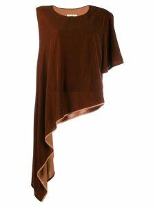 Mm6 Maison Margiela asymmetric sleeve blouse - Brown