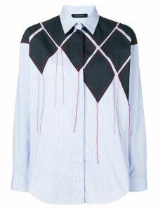 Cédric Charlier patchwork striped shirt - Blue