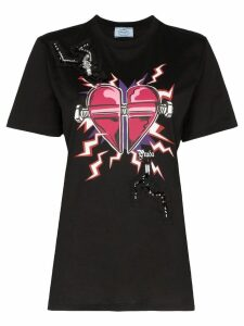 Prada embellished Heart print T-shirt - Black