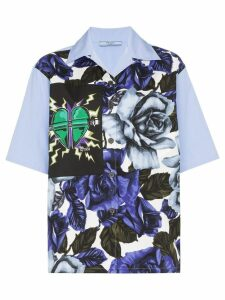 Prada floral print heart patch shirt - Blue