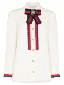Gucci ribbon-trim shirt - White