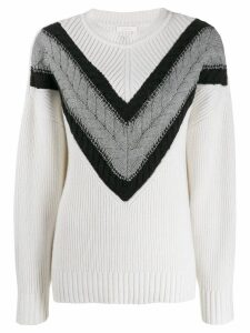 See by Chloé cable strip jumper - White