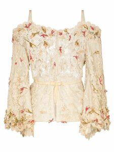 One Vintage flower appliqué lace blouse - NEUTRALS