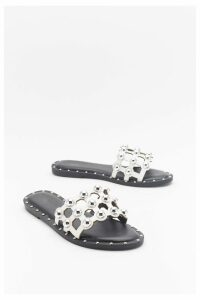 Womens On The Other Slide Studded Cage Sliders - White - 4, White