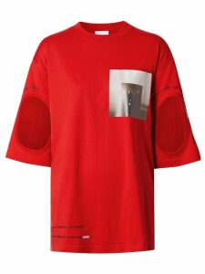 Burberry Cut-out Detail Montage Print Oversized T-shirt - Red