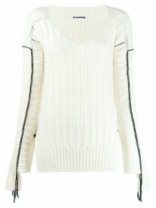Jil Sander V-neck ribbed jumper - White