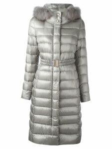 Herno 'Ultralight' fur trim coat - Grey