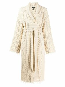 Alanui cable knit robe cardigan - White