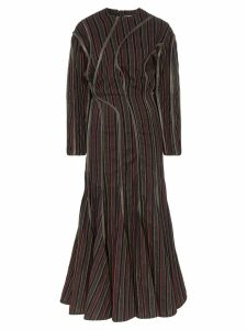 Y/Project leather-piping striped maxi dress - Green