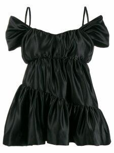 Simone Rocha cold shoulder tiered top - Black