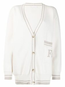 Fabiana Filippi logo long-sleeve cardigan - White