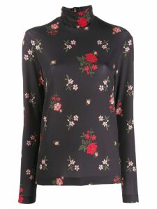 Simone Rocha floral print turtle neck top - Black