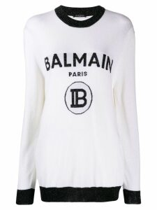Balmain logo knitted jumper - White