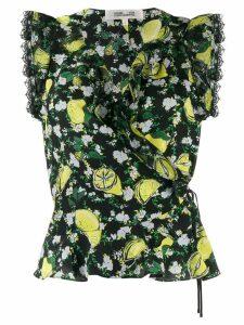 Diane von Furstenberg lemon print vest top - Black