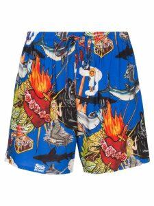 Esteban Cortazar sea-life print drawstring shorts - Multicoloured