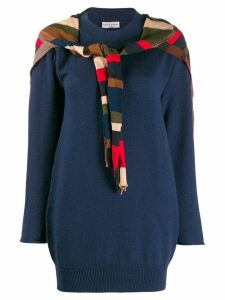Sonia Rykiel striped tie front jumper - Blue