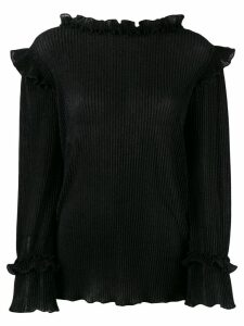 Alberta Ferretti ruffled glitter blouse - Black