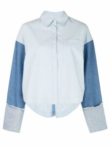 Derek Lam 10 Crosby Cropped Denim Sleeve Button-Down Shirt - Blue