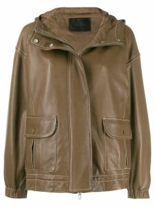 Drome contrast stitching jacket - Brown