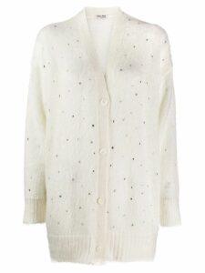 Miu Miu rhinestone embellished cardigan - White