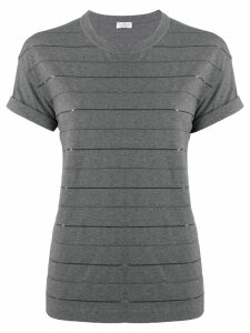 Brunello Cucinelli embellished stripes T-shirt - Grey