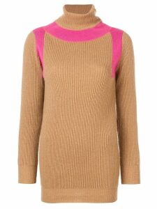 Victoria Beckham contrast panel roll neck jumper - NEUTRALS