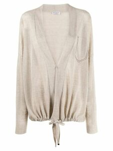 Brunello Cucinelli oversized drawstring cardigan - NEUTRALS