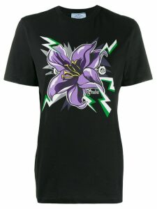 Prada flower print T-shirt - Black