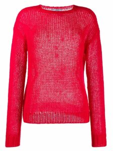 Prada ribbed crew neck knitted top - Red