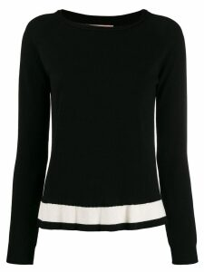 Twin-Set contrast stripe jumper - Black