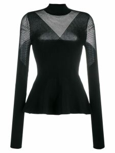 Karl Lagerfeld mesh panels knitted top - Black