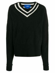 Ji Oh stripe-detail sweater - Black