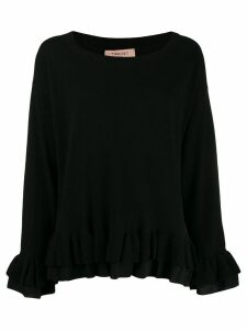Twin-Set layered ruffled hem jumper - Black