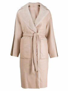Blancha vernice stripes shearling coat - Pink