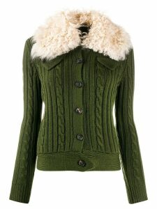 Miu Miu military pocket shearling cardigan - Green