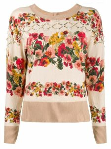 Twin-Set floral intarsia cardigan - Neutrals