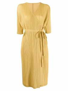 Pleats Please Issey Miyake pleated wrap cardigan - Yellow
