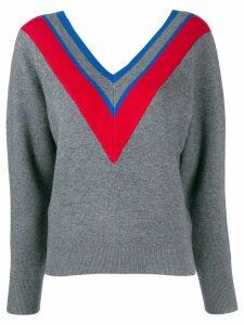 Sandro Paris stripe detail V-neck jumper - Grey