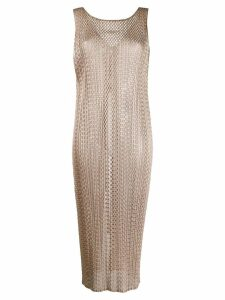 Pleats Please Issey Miyake woven tunic top - NEUTRALS