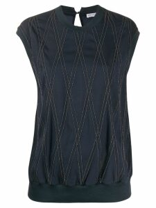 Brunello Cucinelli bead-embellished crepe T-shirt - Blue