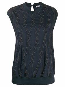 Brunello Cucinelli bead-embellished crepe T-shirt - Blue