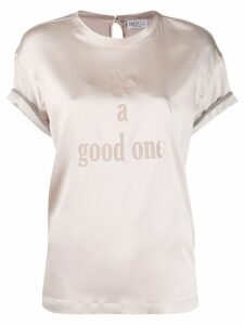 Brunello Cucinelli slogan embroidered blouse - NEUTRALS