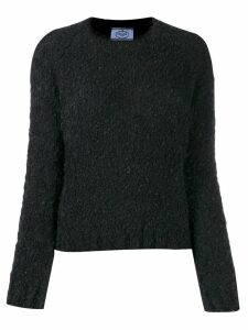 Prada textured crew neck jumper - Black