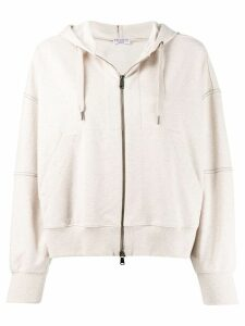 Brunello Cucinelli zipped drawstring hoodie - NEUTRALS