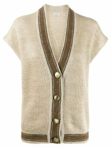 Brunello Cucinelli ribbed short-sleeved cardigan - NEUTRALS