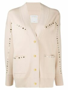 Sandro Paris oversized eyelet-embellished cardigan - Neutrals